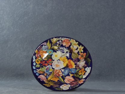 the interior of the fruit bowl painted with flowers, La Vecchia Faenza majolica