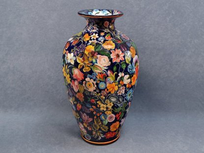 the mouth of the vase is also painted with Flemish flowers - La Vecchia Faenza ceramics