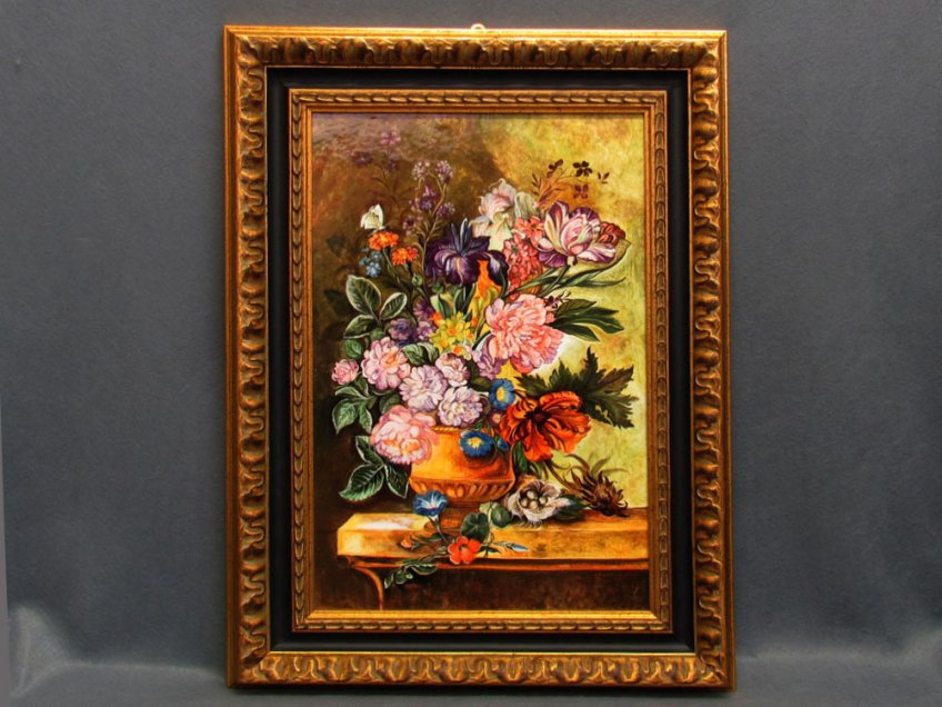 Ceramic panel hand painted with flemish flowers
