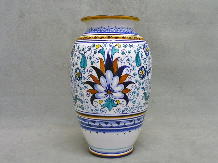 Hand-painted ceramic vase of Faenza in Persian Palmetta style
