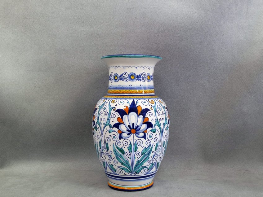 Vase decorated with Persian Palm flower, Faenza Ceramics