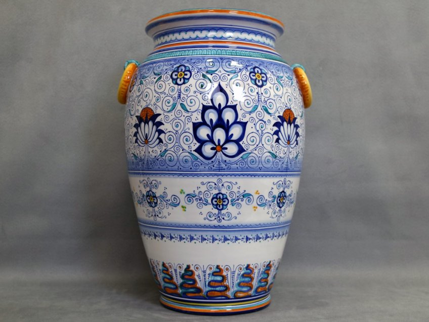Umbrella stand Persian Palm style, Faenza Pottery