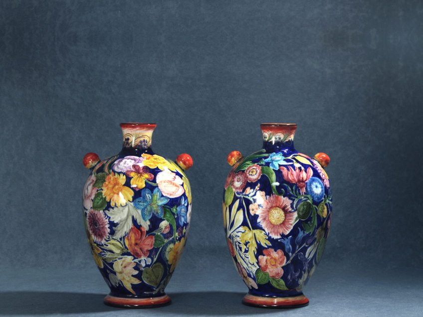 Pair of bottle-shaped vases with small round handles, artistic ceramics La Vecchia Faenza