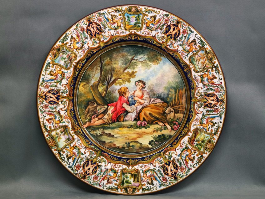 "Raphaelesque painted plate with scene inspired by Boucher's ""Pastoral Subject"""
