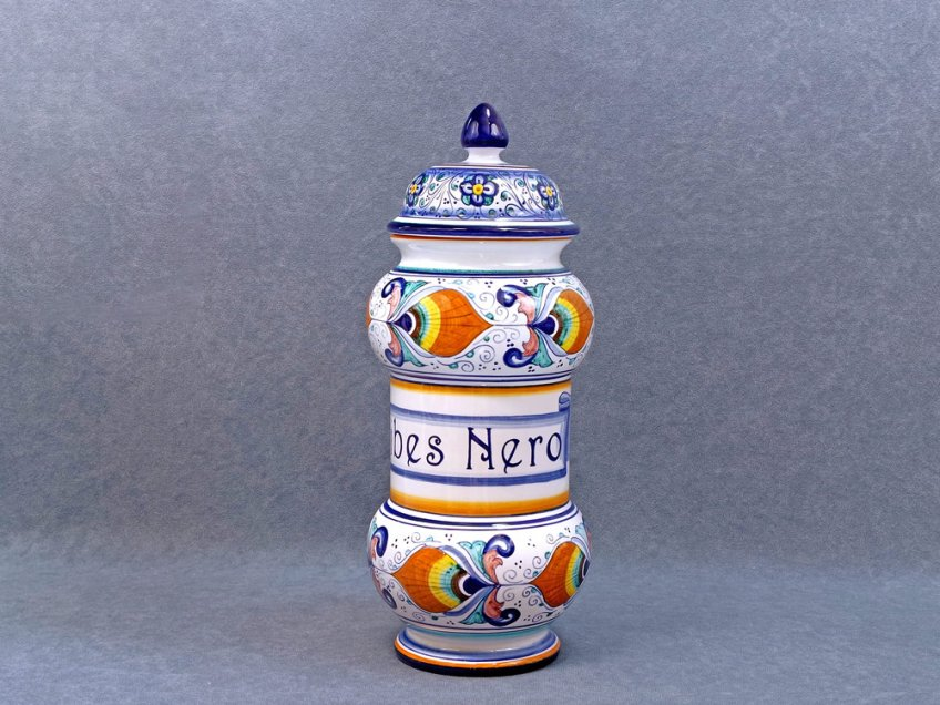 Blackcurrant apothecary jar made in ceramic in Italy