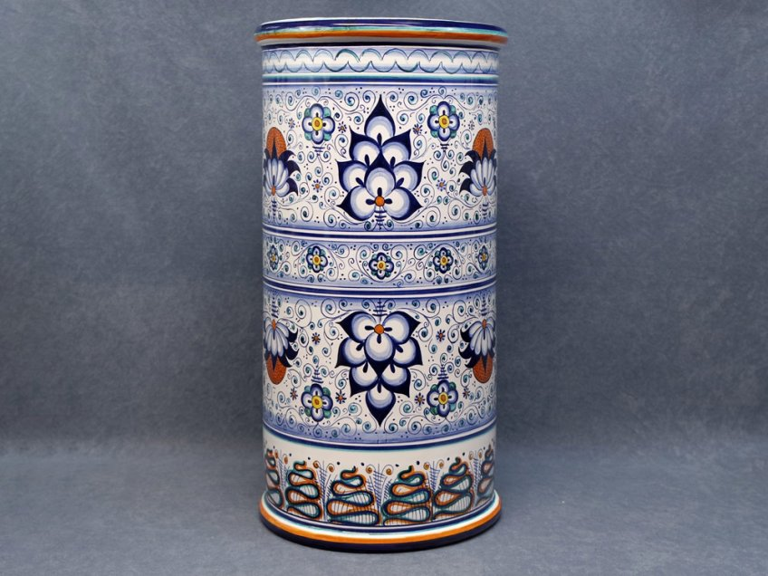Umbrella stand in Faenza ceramic hand painted with Persian Palmette